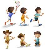 Jongens met verschillende activiteiten vector illustratie