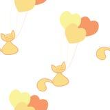 Illustratie van de kat met ballons Stock Fotografie