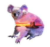 Illustratie van de koala de dubbele blootstelling Royalty-vrije Stock Foto