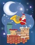 Illustratie van de Leuke Santa Claus French-hoornspeler op het Dak royalty-vrije illustratie
