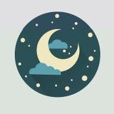 Illustratie van de maan in een beeldverhaalstijl stock afbeelding