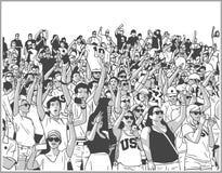 Illustratie van de menigte die van het sportstadion in zwart-wit toejuichen stock illustratie