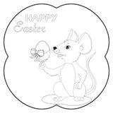 Illustratie van de muis die het ei in het feest van Verrijzenis voor kinderen houden om het kaartontwerp te verfraaien royalty-vrije illustratie