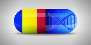Illustratie van de nationale geneesmiddelen van Andorra Drugproductie in Andorra Nationale vlag van Andorra op capsule met gen vector illustratie