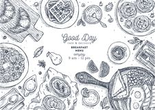 Illustratie van de ontbijt de hoogste mening Diverse voedselachtergrond Gegraveerde stijlillustratie Heldenbeeld Vector illustrat royalty-vrije illustratie