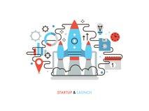 Illustratie van de opstarten van bedrijven de vlakke lijn royalty-vrije illustratie
