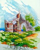 Illustratie van de overblijfselen van een oud gebouw royalty-vrije illustratie