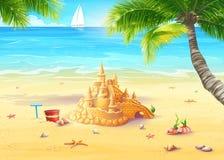Illustratie van de overzeese kust met palmen, zeeschelpen en zandkastelen Stock Afbeelding