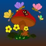 Illustratie van de paddestoel met vlinders en schildpadden Stock Foto