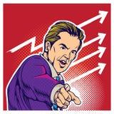 Illustratie van de pop-art de grappige stijl van zakenman Stock Afbeeldingen