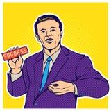 Illustratie van de pop-art de grappige stijl van zakenman Stock Fotografie