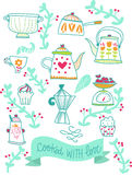Illustratie van de recepten retro keuken stock illustratie