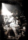 Illustratie van de scène van de Kerstmisgeboorte van christus stock illustratie