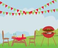 Illustratie van de scène van de binnenplaatsbarbecue stock illustratie