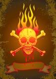 Illustratie van de schedel in vlammen Royalty-vrije Stock Afbeeldingen