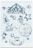 Illustratie van de schets van ruimte themed Stock Foto