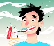 Illustratie van de schoonmakende tanden van een beeldverhaalmens Vector illustratie De jongen borstelt zijn tanden met deeg Het b stock illustratie