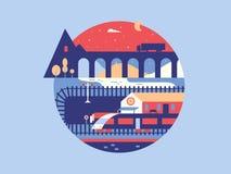 Illustratie van de spoorweg royalty-vrije illustratie
