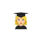 Illustratie van de studenten de universitaire graduatie emoticon stock illustratie