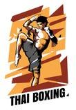 Illustratie van de Thaise vechter van Muay op een abstracte achtergrond Thaise in dozen doende affiche stock illustratie