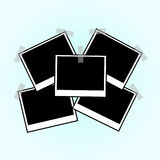Illustratie van de Uitstekende blauwe Achtergrond van Sticked van het Fotokader Retro Photorealistic Fotokader Royalty-vrije Stock Afbeelding