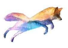 Illustratie van de vos de dubbele blootstelling stock illustratie