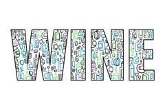 Illustratie van de wijn de van letters voorziende die krabbel binnen hand in minimalistic de affichespresentatie en banners van s stock illustratie
