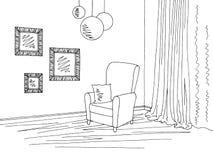 Illustratie van de woonkamer de binnenlandse grafische zwarte witte schets Royalty-vrije Stock Foto