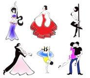 Illustratie van de zes belangrijkste dansstijlen: ballro Royalty-vrije Stock Fotografie