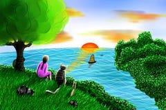 Illustratie van de zomerzonsondergang (zonsopgang) Stock Afbeelding
