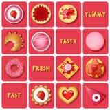Illustratie van dessert en gebakken goederen royalty-vrije illustratie