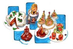 Illustratie van desserts voor de winterpartij Stock Foto's
