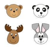 Illustratie van 4 dierlijke hoofden Stock Foto's