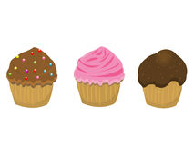 illustratie van diverse cupcakes stock illustratie