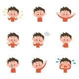 Illustratie van diverse gelaatsuitdrukkingen van een jongen Royalty-vrije Stock Afbeeldingen
