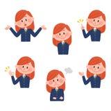 Illustratie van diverse gelaatsuitdrukkingen van een meisje Royalty-vrije Stock Fotografie