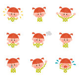 Illustratie van diverse gelaatsuitdrukkingen van een meisje Stock Afbeelding
