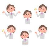 Illustratie van diverse gelaatsuitdrukkingen van een vrouw Stock Afbeeldingen