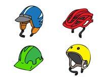 Illustratie van diverse helmen Stock Foto's