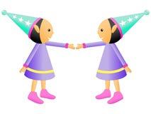 Illustratie van Doll die bij elkaar op Witte Achtergrond glimlachen stock fotografie