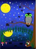 Illustratie van donkere nachtachtergrond. uil Stock Afbeelding