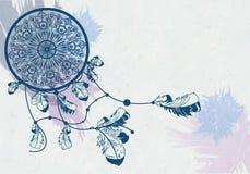 Illustratie van dreamcatcher op de waterverfachtergrond Royalty-vrije Stock Foto