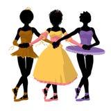 Illustratie van drie de Afrikaanse Amerikaanse Ballerina's Royalty-vrije Stock Fotografie