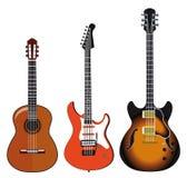 Illustratie van drie gitaren Stock Afbeeldingen