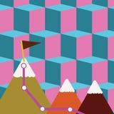 Illustratie van Drie Kleurrijke Bergen met Sleep en Witte Sneeuwbovenkant met Vlag op Één Piek Creatieve achtergrond royalty-vrije illustratie