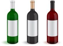 Illustratie van drie realistische wijnfles Royalty-vrije Stock Afbeeldingen