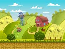 Illustratie van een aardlandschap, met groene heuvels en gebieden, vector oneindige achtergrond met gescheiden lagen royalty-vrije illustratie