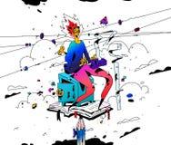 Illustratie van een accountant op het werk Vector Beeldverhaal vlakke stijl De meisjesaccountant houdt rekeningen bij De ondernee vector illustratie