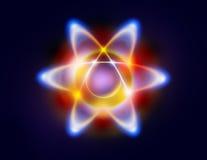 Illustratie van een atoom en cirkelende elektronen Stock Foto's