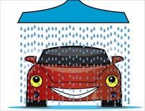 Illustratie van een autowasserette met een douche die zoet waterdruppeltjes op een heldere rode auto gieten Stock Afbeeldingen